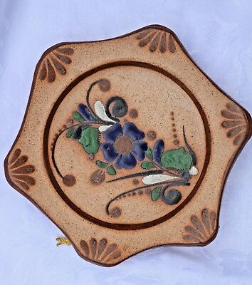 Vintage Signed MEX S. Hanging Clay Pottery Plate Blue FLowers