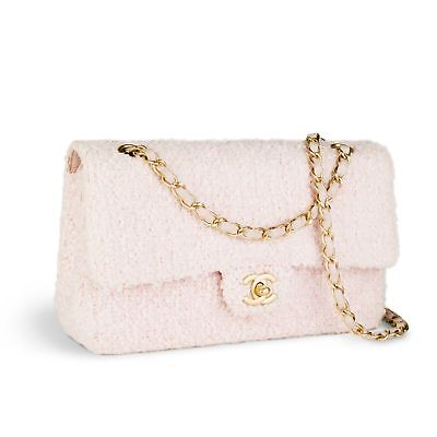 9a671c003a04 CHANEL RARE PINK Tweed Medium Classic Double Flap Vintage Crossbody ...
