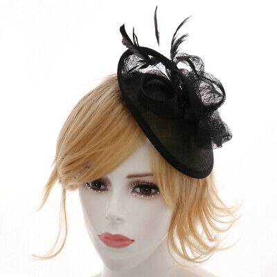 Fashion Lady Party Race Feather Sinamay Hat Decorations Clip Wedding Fascinator