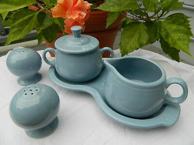 Vtg FIESTA: Salt & Pepper CREAMER Covered SUGAR and TRAY Periwinkle type BLUE
