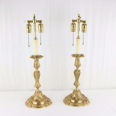 "Fine Pair of French Bronze Candlesticks Converted to Lamps Large Size 14"" Sticks"