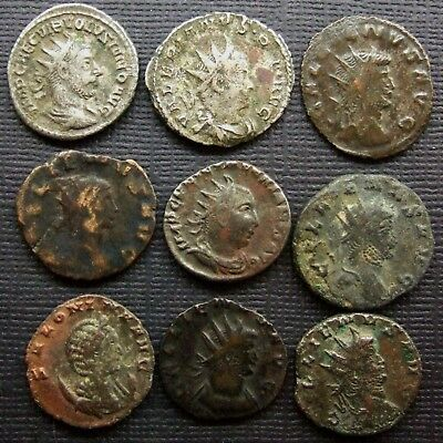 Roman Empire; A job lot of 9 AR and  AE coins; various types and issues.