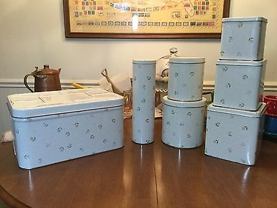 Vntg Meister Breadbox, Square And.round Canisters Plus Spagetti Tube