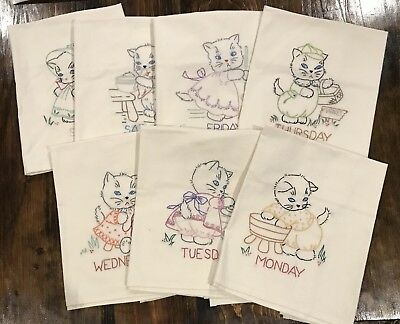 *Kitten Days Of Week* Hand Embroidered Tea Towels- So Cute!!