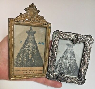 Lot 2 Antique VICTORIAN small picture frames Fancy brass+Entwined silver dragons