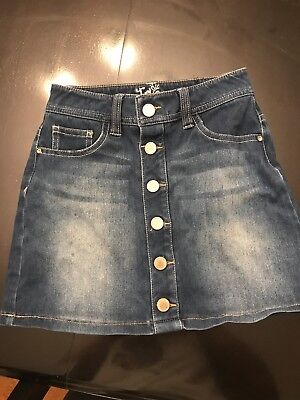 Justice - faux button-front jean skirt with built-in shorts - size 8