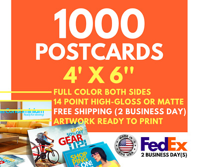 1000 Custom Full Color 4x6 Postcards w/UV Glossy - FAST SHIPPING 2 Business day