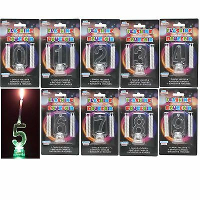 0 - 9 Number Birthday Flashing Candle Colour Changing  Cake Decoration 4 Candles