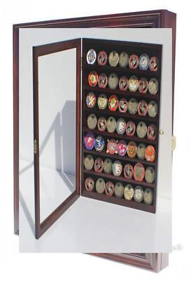 LOCKABLE Military Challenge Coin Display Case Cabinet Rack Holder, -...