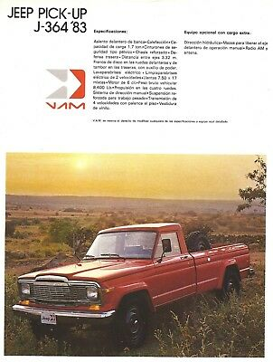 Jeep Pickups 1983, as built and sold in Mexico, single sheet, two sides