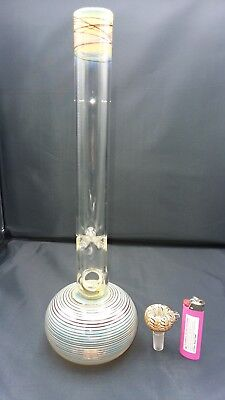 15 inch Bubble Waterpipe Colored Glass with bowl. *NO DOWNSTEM