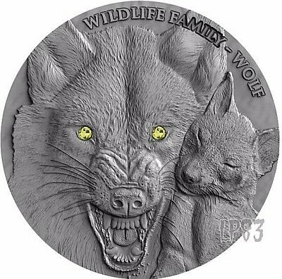 2017 WOLF WILDLIFE FAMILY - 1 Oz ULTRA High Relief Silver Coin Swarovski..