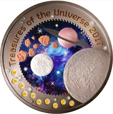 2017 1 Oz Silver 5 Cedis TREASURES OF THE UNIVERSE 10 in 1 coin sensation