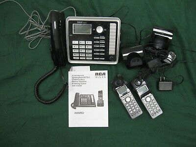 RCA ViSYS 25255RE2 2-LINE BUSINESS PHONE ANSWERING SYSTEM + 2 XTRA HANDSET