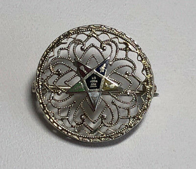 10kt White Gold Masonic Eastern Star Pin