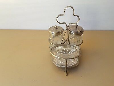VINTAGE CRUET SET CRYSTAL  glass AND NICKEL SILVER PLATED 5