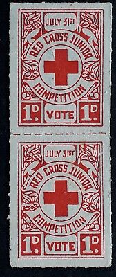1943 Australia Pair of 1d Red Cross Junior Competition Cinderellas MUH No Gum