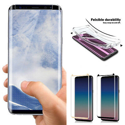 TPU Clear Gel Case Cover+Tempered Glass Screen Protector Fr Samsung S9/S9 Note 9