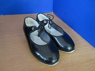 TEMPO by Leo's Black Patent Dance TAP SHOES~Girls Size 3.5 M