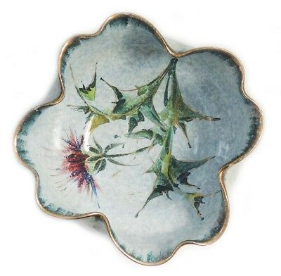 Gorgeous Italy Hand Painted Porcelain Bowl With Floral Design and Gold Trim