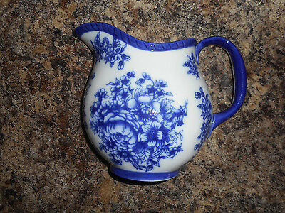 Basic Porcelain Blue & White Floral Pitcher Wall Pocket