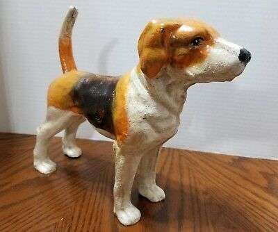 Cast Iron Tri Color Hound Dog Doorstop Bank ~ Reproduction~ Brown, White & Tan