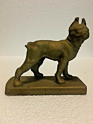 Vintage Cast Iron Standing Pit Bull Paperweight / Figurine.