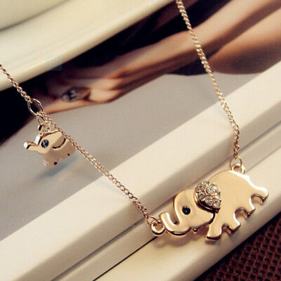 Elephant Family Stroll Women Charming Crystal Chain Necklace Creative Gift Z