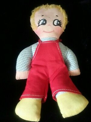 Rare Mrs. Beasley Rag Doll in Red Overalls - Family Affair - Vintage - No Tags
