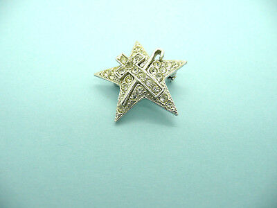 Vintage Masonic White Shrine of Jerusalem Rhinestone Brooch Pin, Signed ORA