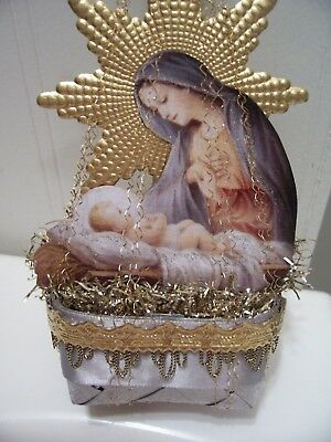 Antique/VTG. Look Ornament, MARY & JESUS, Basket, Wire, Scrap, Tinsel, Hand Made