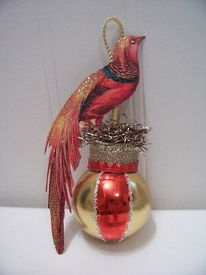 Antique Look Christmas Ornament,BIRD w/Long Tail, Scrap, Glass,Tinsel, Hand Made