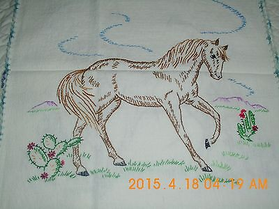 """Horse Hand Stitched Cloth Mustang & Cactus, Crocheted Edging  16  1/2"""" x  38"""""""