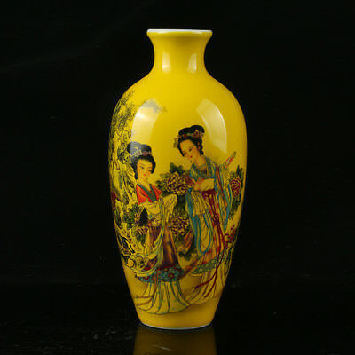 Chinese Porcelain Hand-Painted Beaut Girl Vase Mark As The Qianlong Period R1044