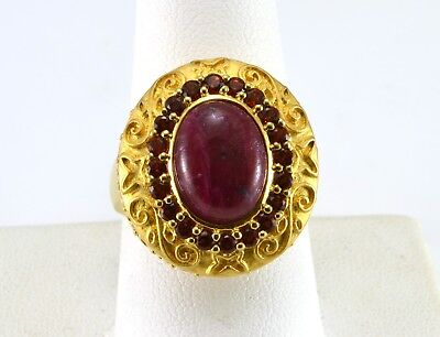 Beautiful Sterling Silver Vermeil Red Jasper and Garnet Cocktail Ring size 9.25