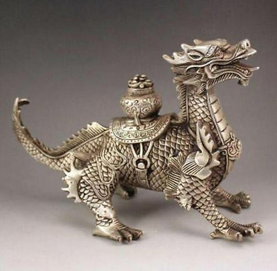 2017 New hot toys Huge Tibetan Silver luck Dragon Statue Asian Antiques Antiques