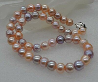 Natural Rare multicolor 10mm Baroque freshwater Pearl Necklace J18048