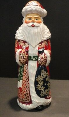 Russian Wooden Hand-Carved Hand-Painted Santa Claus Artist Stamped Wooden Figure