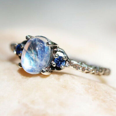 Vintage Women Jewelry Silver Plated Moonstone Wedding Engagement Ring