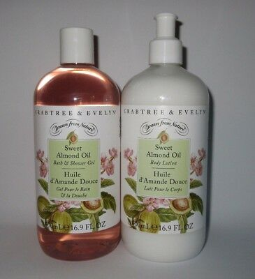Crabtree & Evelyn Sweet Almond Oil Body Lotion & Shower Gel SET 16.9 Fl OZ
