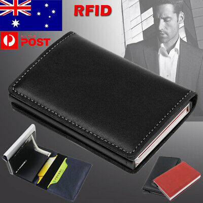 Pop-up Credit Card Holder PU Leather Case RFID Blocking Metal Wallet Money Clip