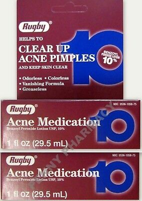Benzoyl Peroxide 10% LOTION Acne Medication 1 fl. oz Rugby ( 2 pack ) ***