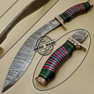 Beautiful Custom Hand Made Damascus Steel Hunting Kukri Bowie Knife Pakka Wood