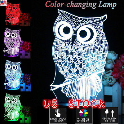 US Touch 3D LED Night Lights Owl Animal 7 Color Change Table Desk Lamp Xmas Gift