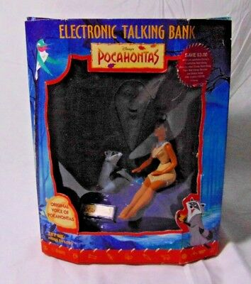 Vintage Disney Pocahontas Electronic Talking Coin Bank in box
