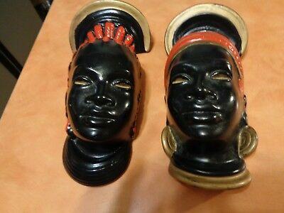 """Pair Black African nubian face heads hanging plaques 9.5"""" & 8.75"""""""