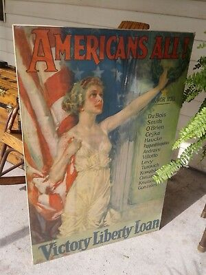 WW1 Howard Chandler Christy Americans All! Victory Liberty Loan Vintage Adv.