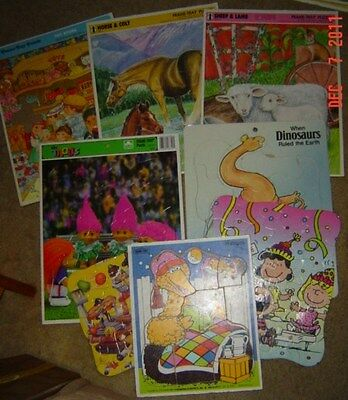 Vintage 1980s Frame Tray Puzzle Assortment; Lot of (8); incl 1 Wooden; F-VG
