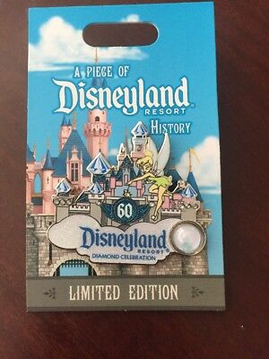 Disney Piece of History Disneyland 60th Sleeping Beauty Castle Tinker Bell Pin