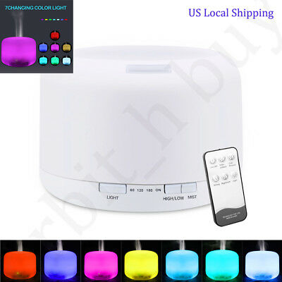 500ML 7 LED Humidifier Air Aroma Essential Oil Diffuser Aromatherapy Atomizer US